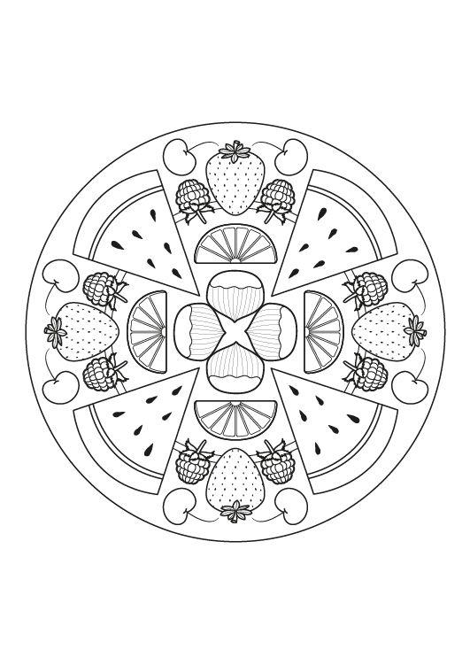 Mandala de frutas dibujo para colorear e imprimir for Mandalas ninos