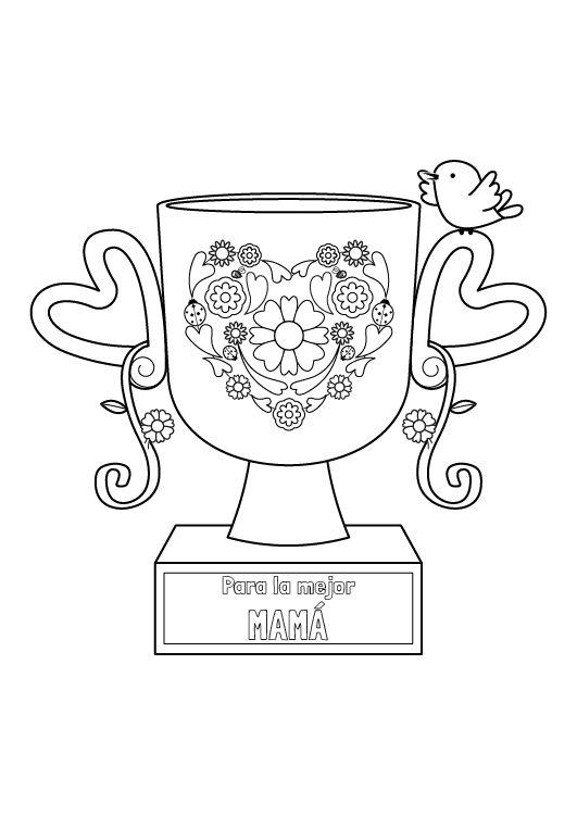 Trofeo para mamá: dibujo para colorear e imprimir