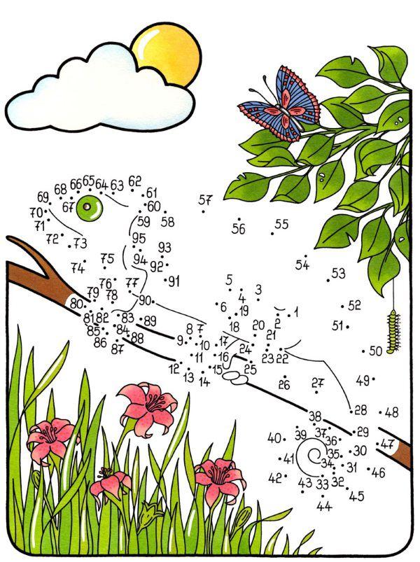 Dibujo de unir puntos de camaleón en color: dibujo para colorear e imprimir