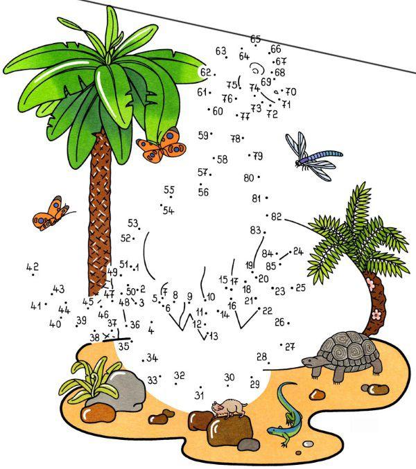 Dibujo de unir puntos de dinosaurio en color: dibujo para colorear e imprimir