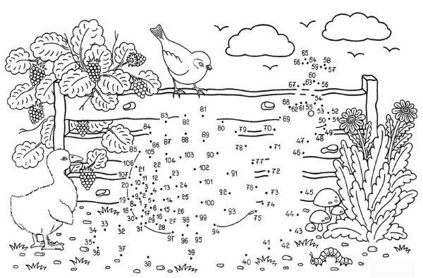 Dibujo de unir puntos de caracol: dibujo para colorear e imprimir