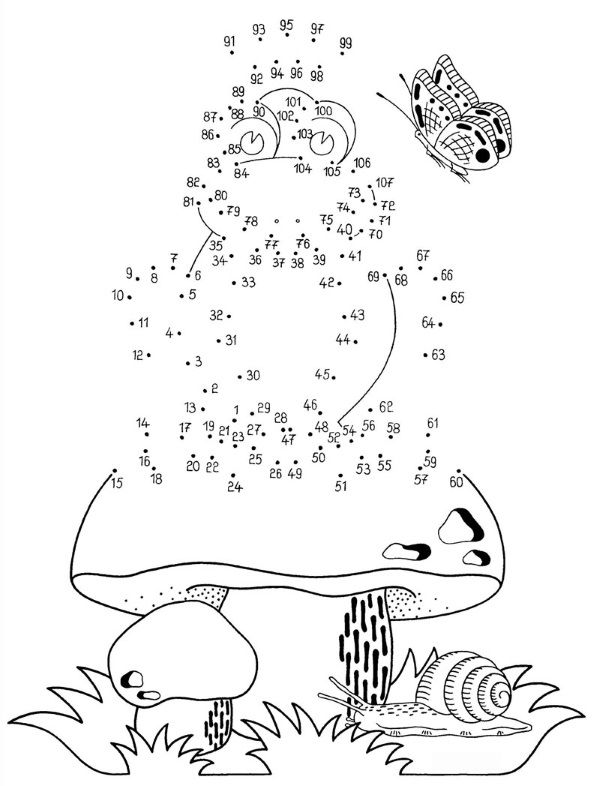 Dibujo de unir puntos de rana y champiñón: dibujo para colorear e imprimir
