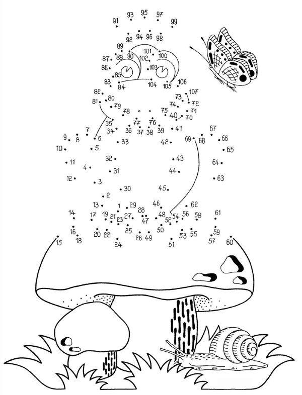 Dibujo de unir puntos de rana y champiñón: dibujo para colorear e ...