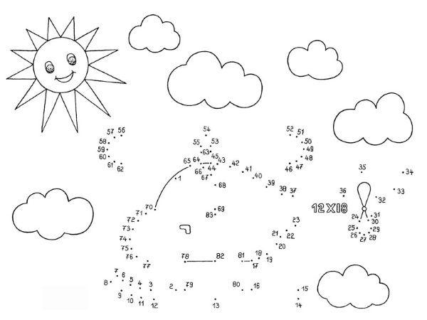 Dibujo de unir puntos de helicóptero: dibujo para colorear e imprimir