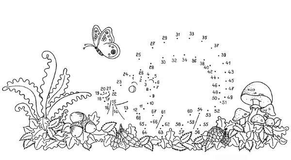 Dibujo de unir puntos de erizo: dibujo para colorear e imprimir