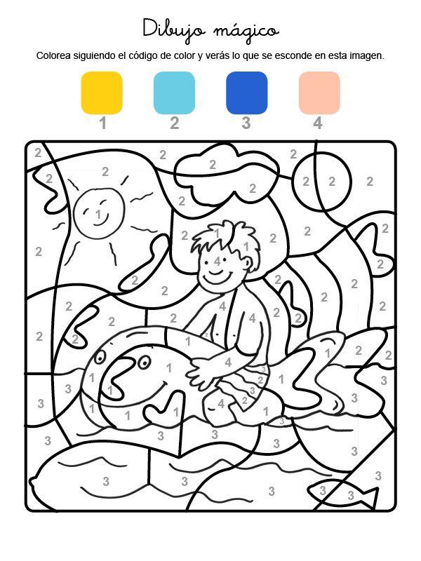 Dibujo mágico de niño en el mar: dibujo para colorear e imprimir