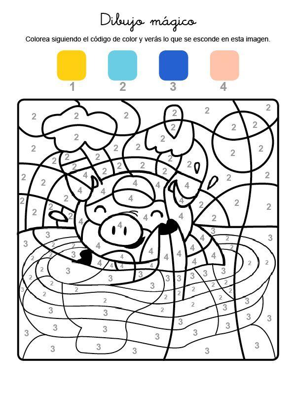 Dibujo mágico de un cerdito: dibujo para colorear e imprimir