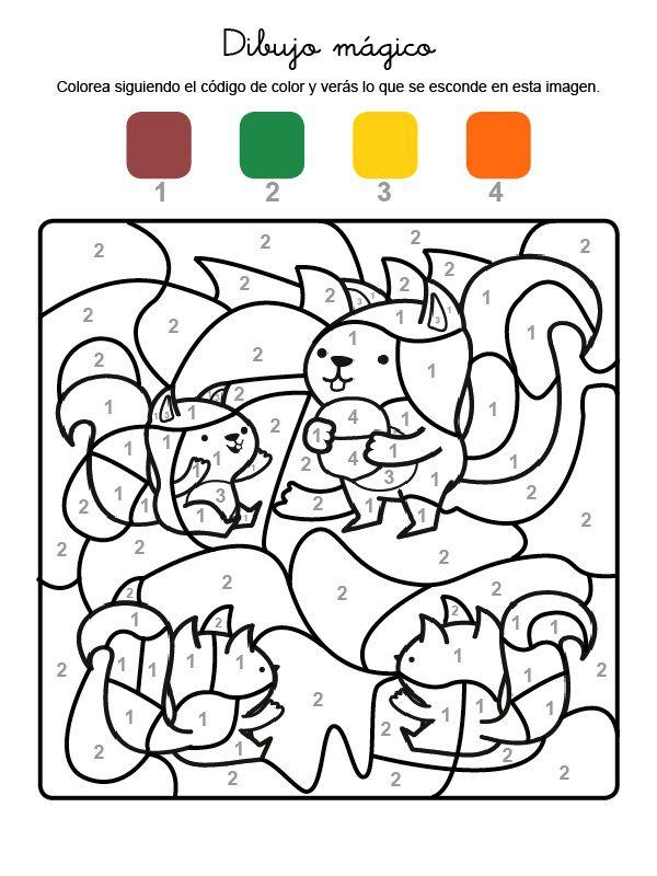 Dibujo mágico de ardillas: dibujo para colorear e imprimir