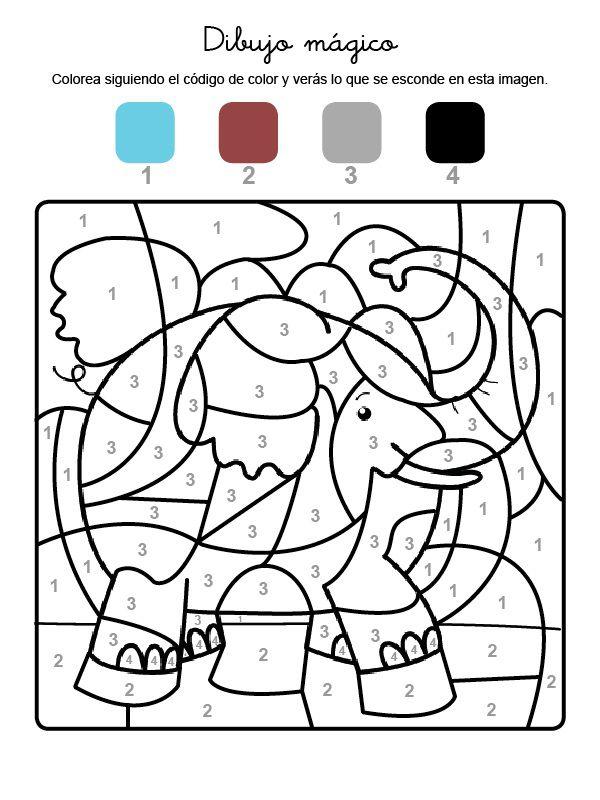 mágico de un elefante: dibujo para colorear e imprimir