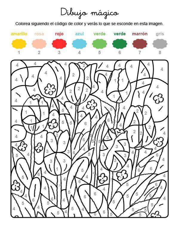 Dibujo mágico de tulipanes: dibujo para colorear e imprimir