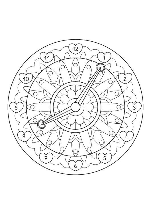 Mandala reloj dibujo para colorear e imprimir for Mandalas ninos