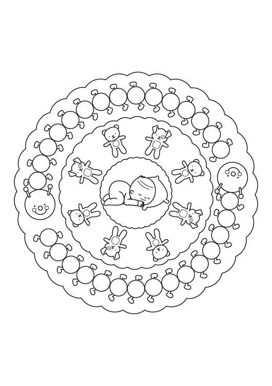 Mandala bebé: dibujo para colorear e imprimir