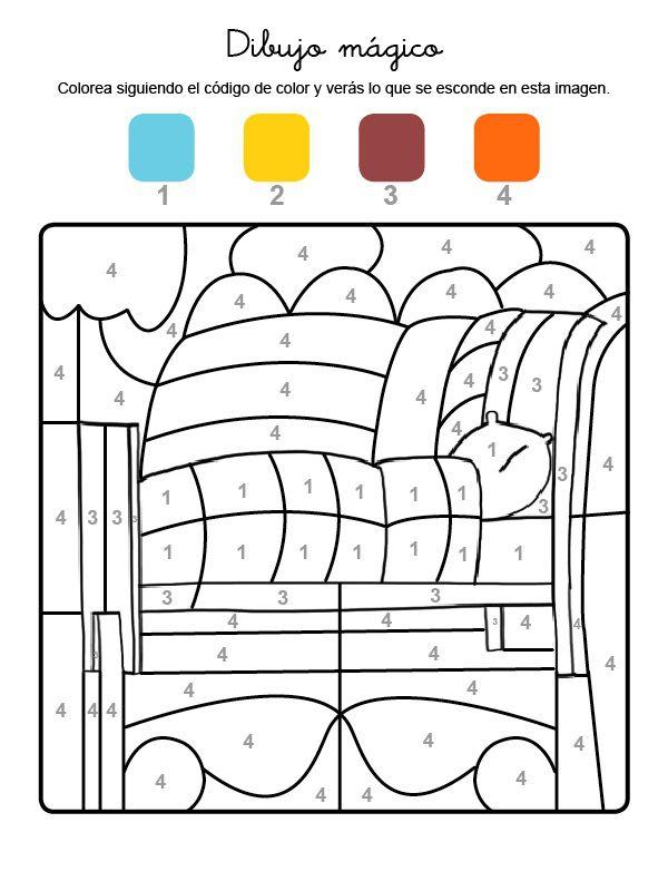 Dibujo mágico de una cama: dibujo para colorear e imprimir