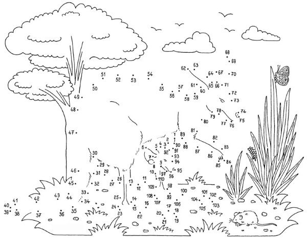 Dibujo de unir puntos de canguro con bebé: dibujo para colorear e imprimir