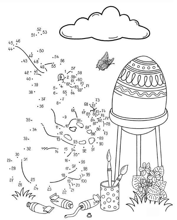 Dibujo de unir puntos de conejo y huevo: dibujo para colorear e imprimir