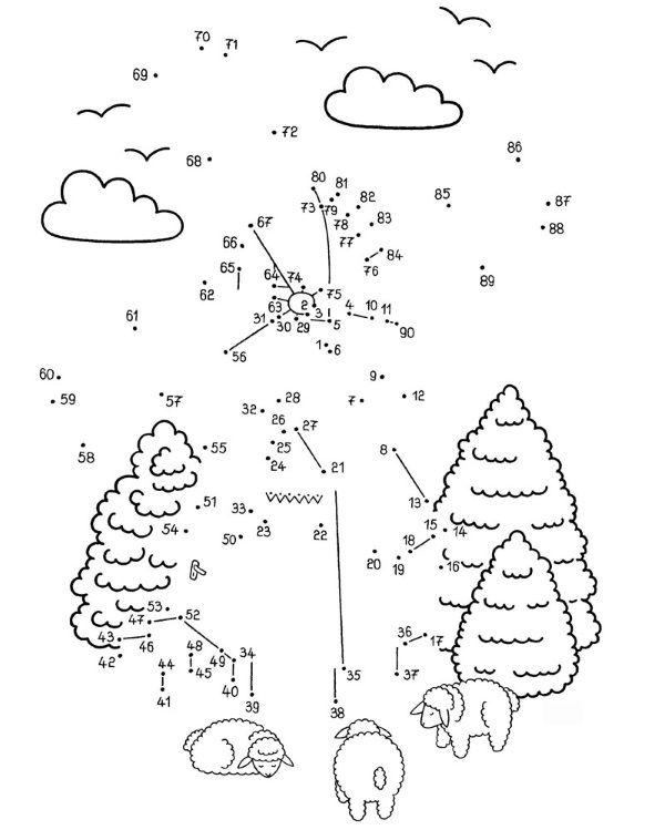 Dibujo de unir puntos de un molino: dibujo para colorear e imprimir