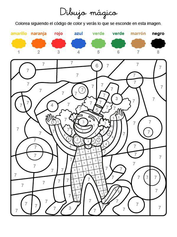 Dibujo mágico de un payaso: dibujo para colorear e imprimir