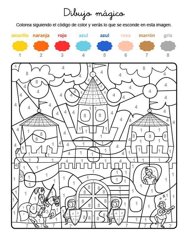 Dibujo mágico de una fortaleza: dibujo para colorear e imprimir