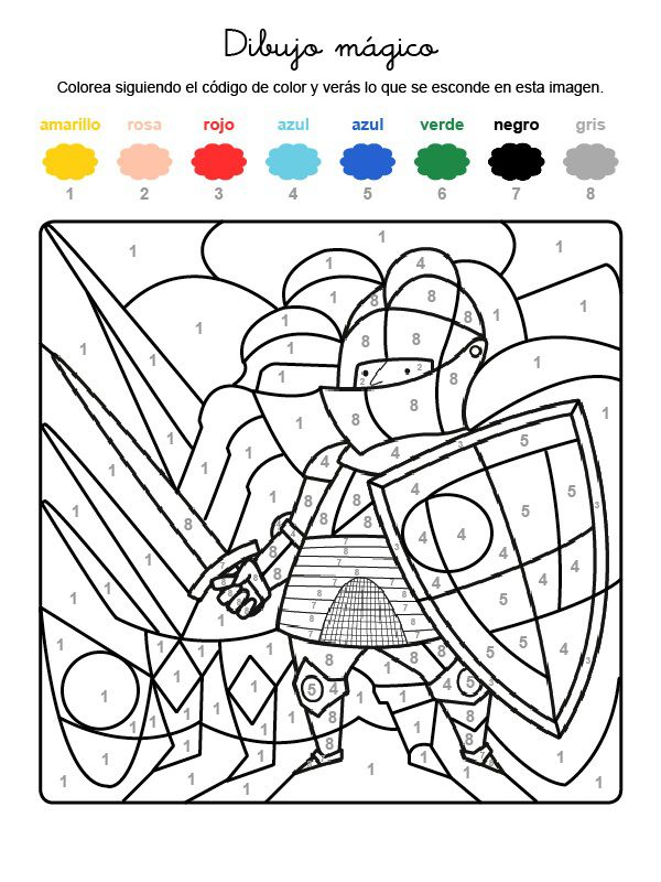 Dibujo mágico de un caballero: dibujo para colorear e imprimir