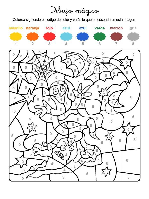 Dibujo mágico de fantasmas: dibujo para colorear e imprimir