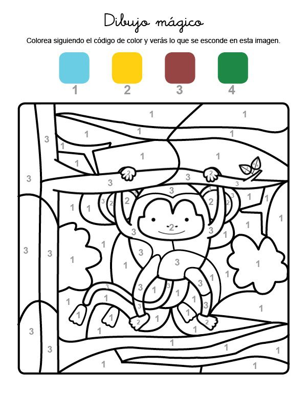 Imprimir Dibujo mgico de un mono dibujo para colorear e imprimir