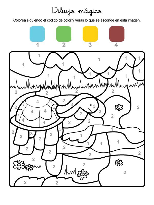 Dibujo mágico de una tortuga: dibujo para colorear e imprimir