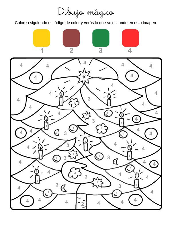 Dibujo mágico de adornos de Navidad: dibujo para colorear e imprimir