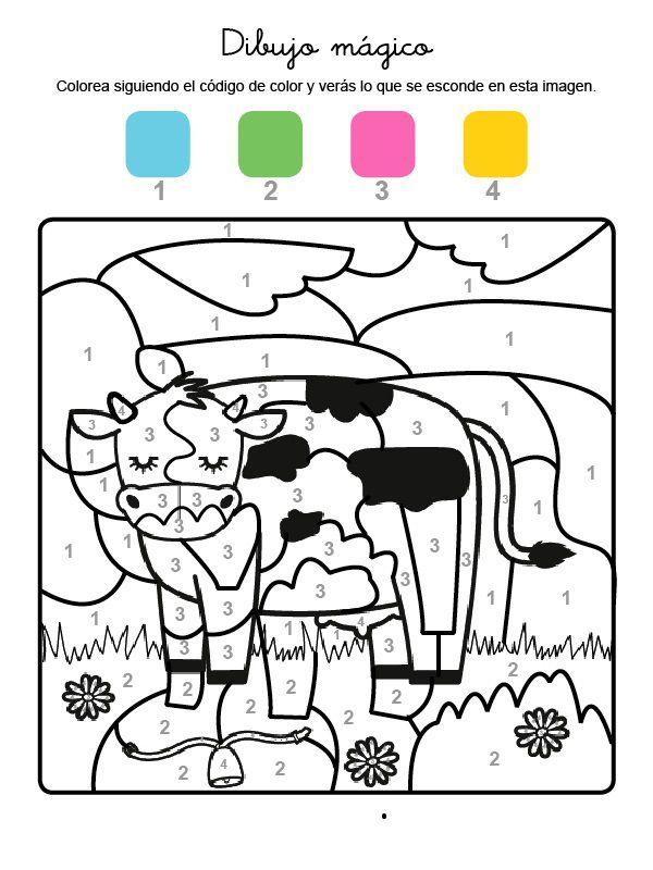Dibujo mágico de una vaca: dibujo para colorear e imprimir