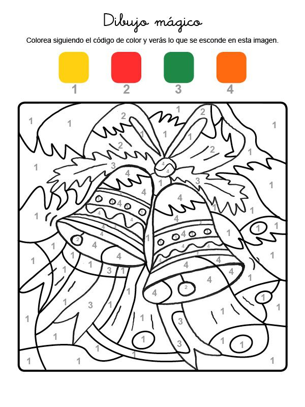 Dibujo m gico de campanas de navidad dibujo para colorear - Dibujos navidad en color ...