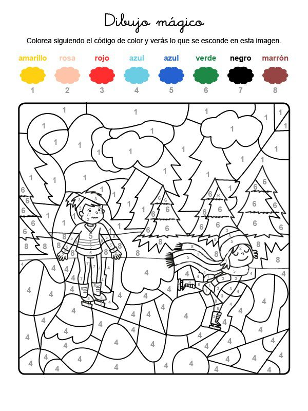 Dibujo mágico de niños patinando sobre hielo: dibujo para colorear e ...