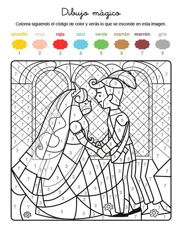 Dibujo mágico de boda de príncipes: dibujo para colorear e imprimir