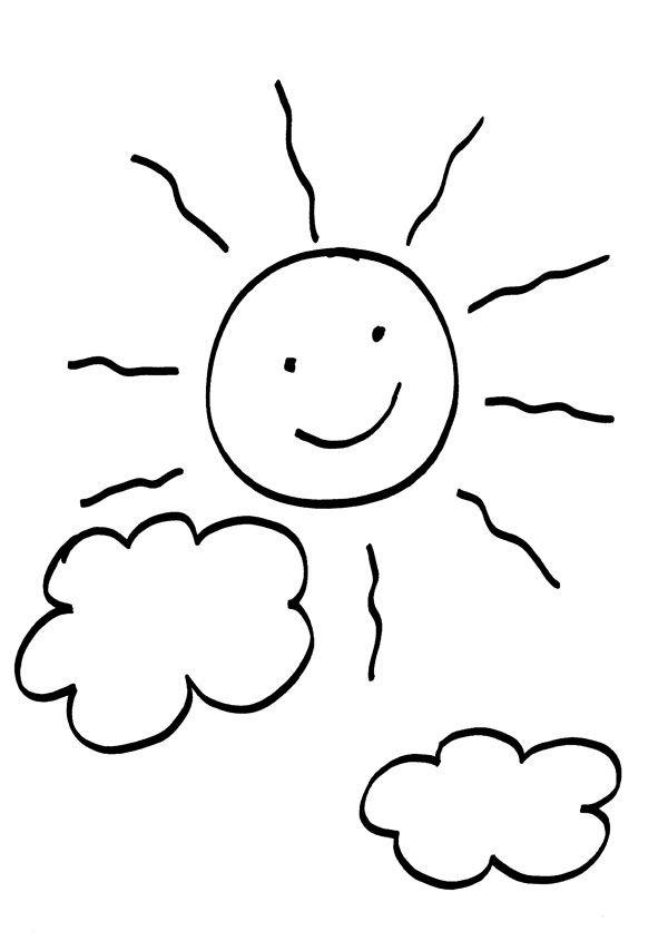 Sol y nubes: dibujo para colorear e imprimir