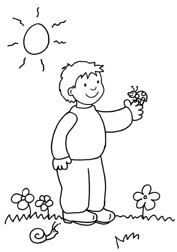 Niño con mariquita: dibujo para colorear e imprimir