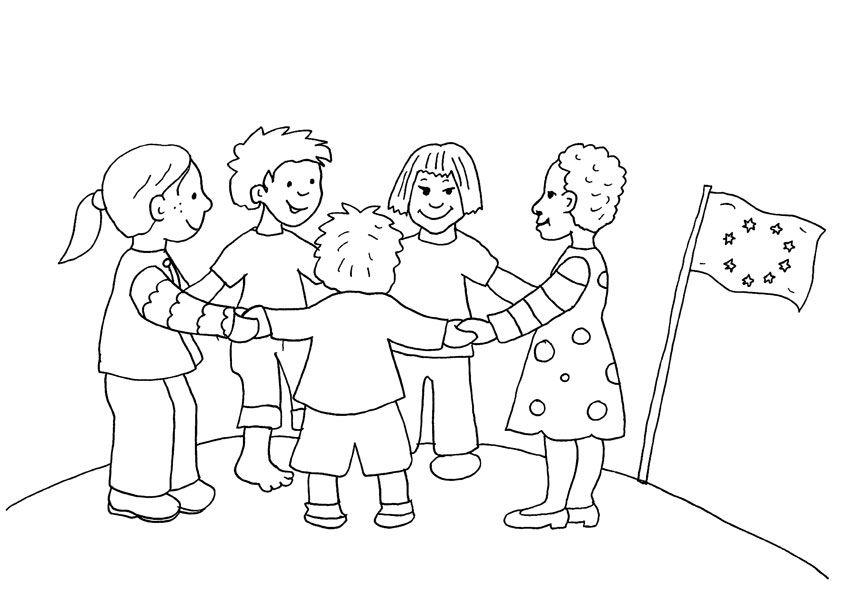 Dibujos Sobre La Escuela Para Colorear E Imprimir: Niños De Europa: Dibujo Para Colorear E Imprimir