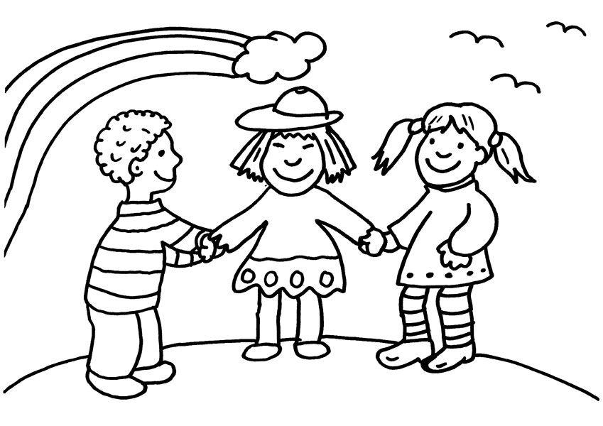 Imprimir: Niños Y Arco Iris: Dibujo Para Colorear E Imprimir