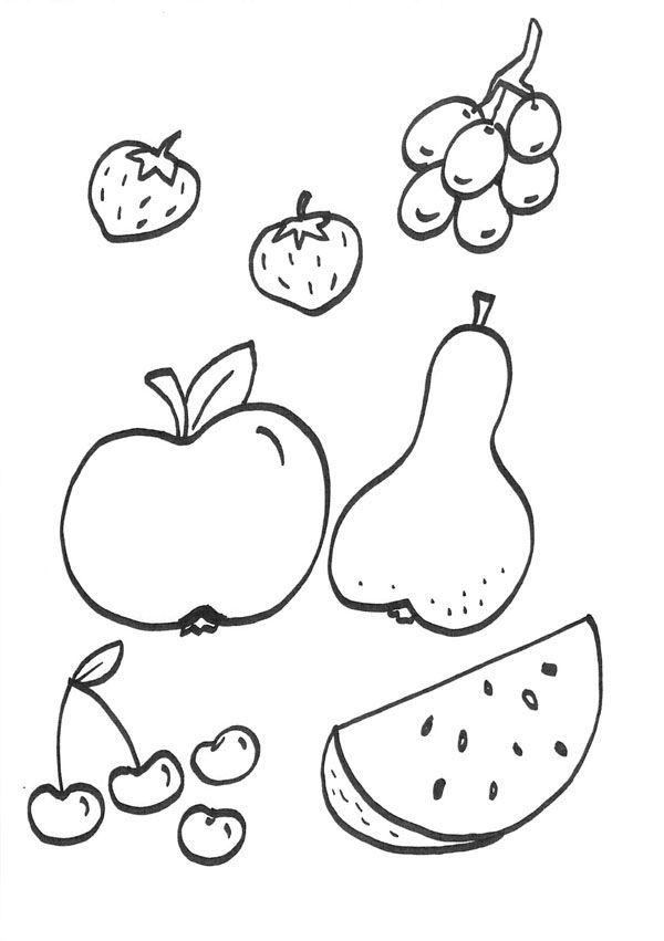Frutas: dibujo para colorear e imprimir