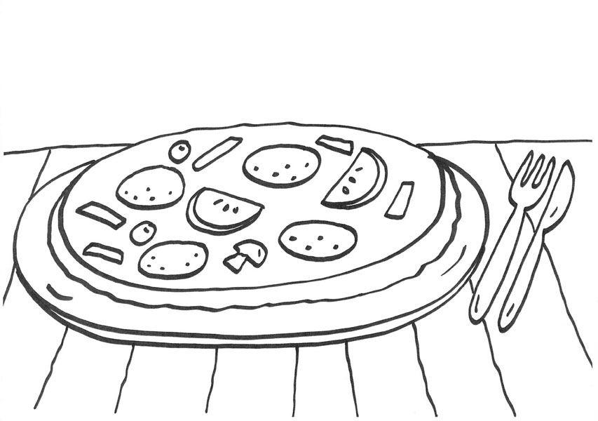 Kleurplaat Frite Pizza Dibujo Para Colorear E Imprimir