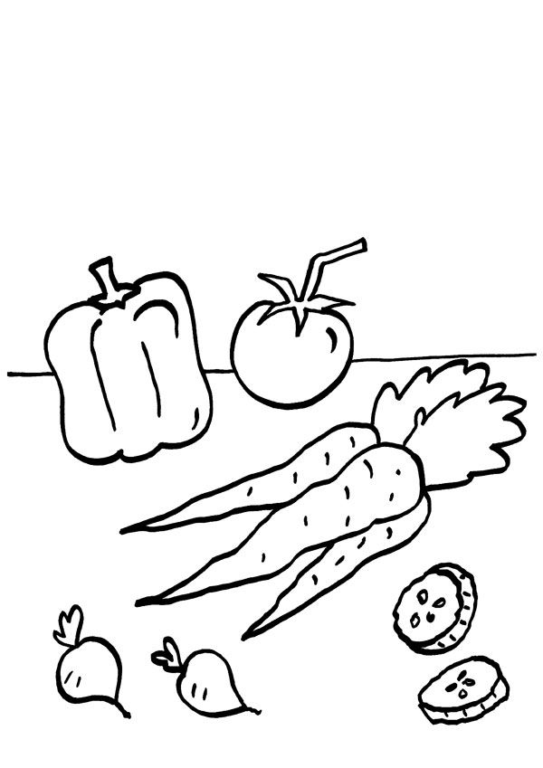Verduras: dibujo para colorear e imprimir