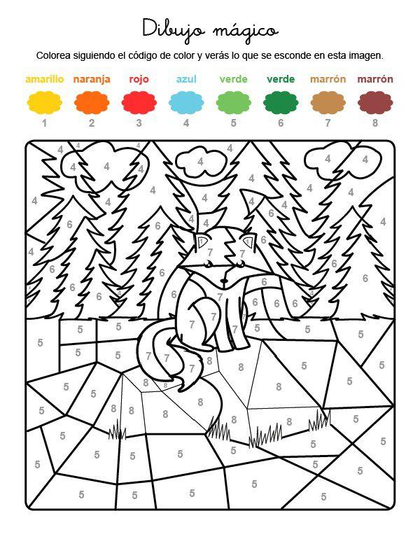 Dibujo mágico de un zorro en la montaña: dibujo para colorear e imprimir