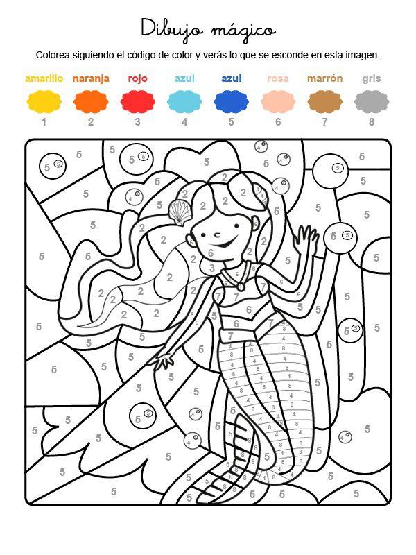 mágico de una sirena bajo el agua: dibujo para colorear e imprimir