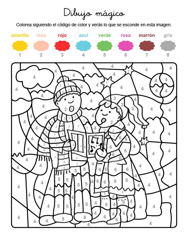 Dibujo mágico de niños cantando villancicos: dibujo para colorear e imprimir