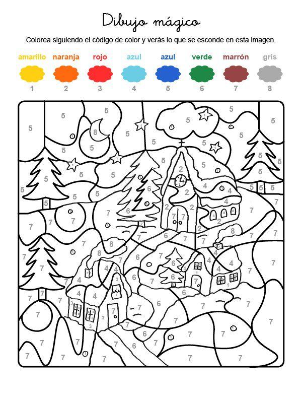 Dibujo mágico de casas bajo la nieve: dibujo para colorear e imprimir