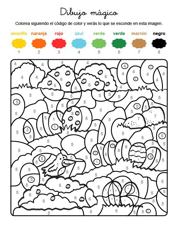Dibujo mágico de huevos de Pascua: dibujo para colorear e imprimir