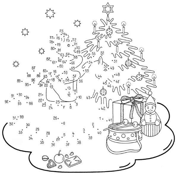 Dibujo De Unir Puntos De árbol En Navidad Dibujo Para