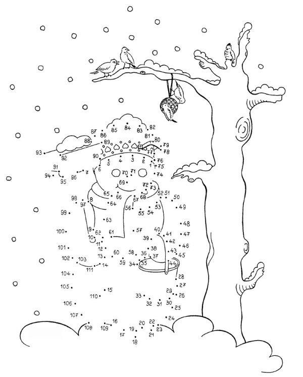 Dibujo de unir puntos de un muñeco de nieve: dibujo para colorear e imprimir