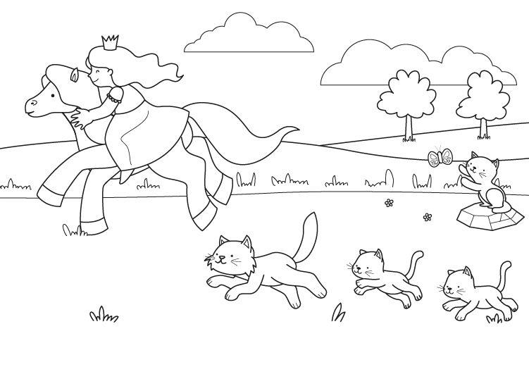 El paseo de la princesa: dibujo para colorear e imprimir