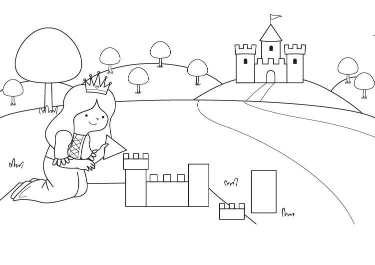 Imprimir el castillo de la princesa dibujo para colorear - Castillos para ninos de infantil ...
