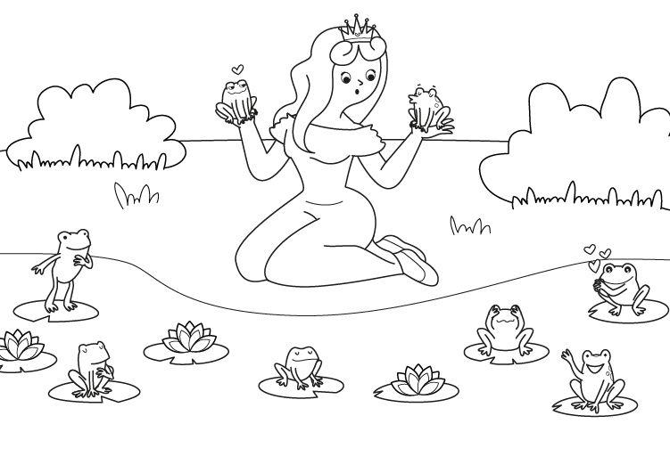 Dibujos De Principes Y Princesas Para Colorear: La Princesa Y Las Ranas: Dibujo Para Colorear E Imprimir