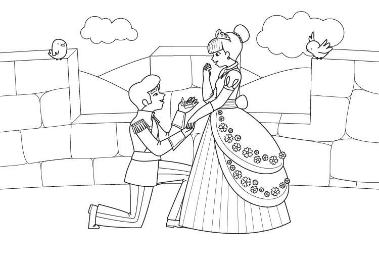 Dibujos De Principes Y Princesas Para Colorear: Compromiso De La Princesa: Dibujo Para Colorear E Imprimir