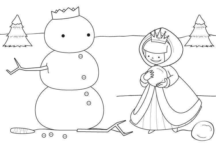 Muñeco De Nieve Dibujo: El Muñeco De Nieve De La Princesa: Dibujo Para Colorear E